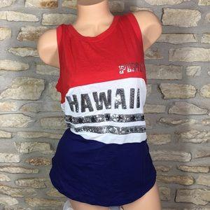 L Victoria's Secret PINK Hawaii Tank Top Sequin